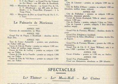 1 1922 09 04 Historique, Palmarès de Jules Moriceau par le MCF, As des AS sur Sunbeam,Talbot et Amilcar, Antibes, Indianapolis. 2