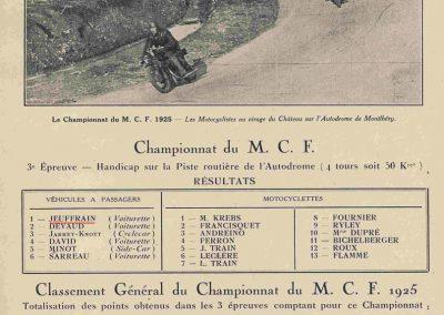 1 1925 Championnat M.C.F. 1er du Classement général, Robert Jeuffrain. 1