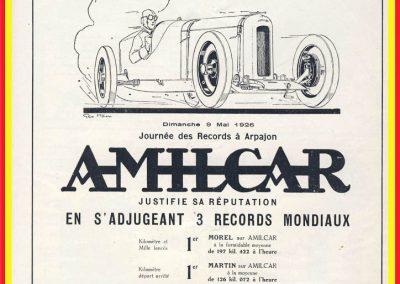 1 1926 09 05 Journée des Records à Arpajon. 3 Records du Monde pour ''Amilcar'', André Morel et Charles Martin, dont le K.L. à 197,422 km, 18''0 (200 km-h). 1
