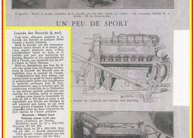 1 1926 09 05 Records Internationaux Arpajon, Morel, Amilcar C.O. 1100cc, bat le km lancé à 197,422 km-h (200 km-h), le Mile L. à 195 et Martin le km arrêté à 126. 1