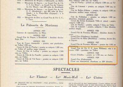 1 1927 10 17 Historique, Palmarès de Jules Moriceau par le MCF, As des As sur Sunbeam,Talbot et Amilcar, Antibes ( Indianapolis...). 2