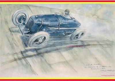1 1927 Géo Ham ''G. H.'' a immortalisé sur cette célèbre Aquarelle le 1er Amilcar M.C.O. (Géo Ham) (M pour Monoplace) de 1927 sur l'Autodrome de Linas-Montlhéry. 1