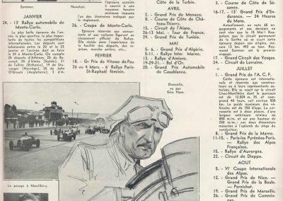 1 1934 Calendrier. Sommer, Nuvolari, Benoist et Etancelin (dessin de G.H.). 1