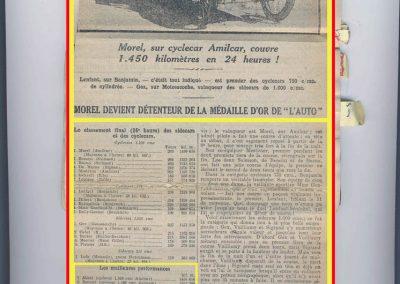 1922 29 05 le Bold'Or 24 heures d'Endurance et de Vitesse. Amilcar 1er Morel, Médaille d'Or, 1450 km à 60 km de moy., devant les Salmson de Benoist et Bueno. 1