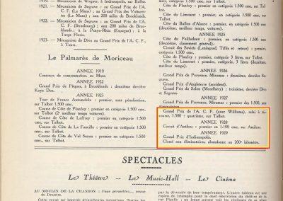1922 Historique et Palmarès de Jules Moriceau par le MCF, As des AS, sur Talbot, Sunbeam et Amilcar, 1er au Circuit d'Antibes, St Sébastien, sélectionné à Indianapolis avec Chiron-Delage 1500... 2