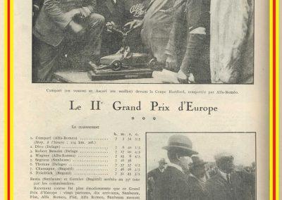 1924 03 08 le 2ème GP d'Europe, 1er Campari ALFA, 2ème Divo Delage, 3ème Benoist, 6ème Thomas sur Delage, 7et 8ème Chassagne et Frederich sur Bugatti. 3