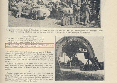 1924 03 08 le 3ème GP ACF Tourisme, Morel sur Voisin 4ème, Duray Ariès 6ème. GP Vitesse 1er Campari ALFA, 2, 3 et 6ème, Divo, Benoist et Thomas sur Delage. Côte de Laffrey 6,400 km, 52 virages, Roanne.5