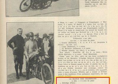 1924 12 10 Inauguration Autodrome Montlhéry. GP de France, 1er 2ème Goutte et Casse-Salmson. Match Duray-Eldridge-Thomas. 5