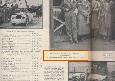 1924 17 08 Côte du Mont Ventoux de 21,600 km de 5 à 13%. de pente. 1er Morel Amilcar 1100cc en 21'45''!, Divo-Delage +8000cc en 18'17'' et Benoist Delage +5000cc en 18'26''. 1