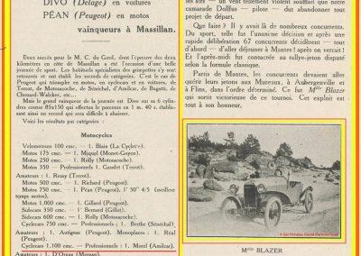 1924 23 03 Massillan (Gard), 2 km, 1er Morel Amilcar 21'43''4 en 1100 R.B.- Le 25 03, Rallye-Ballon-Jeton, 1ère Mlle Blazer et 3ème Jeuffrain sur Amilcar. 1