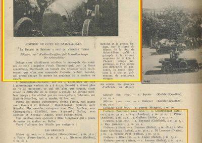 1924 28 05 Côte de Saint Alban les Eaux (près de Roanne). 1er Benoît Delage + de 4000cc. 1