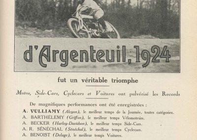 1924 30 03 Côte d'Argenteuil, 1er Amilcar 1100 Marius Mestivier 1'36, Benoist Delage 8000cc 1'23. 1