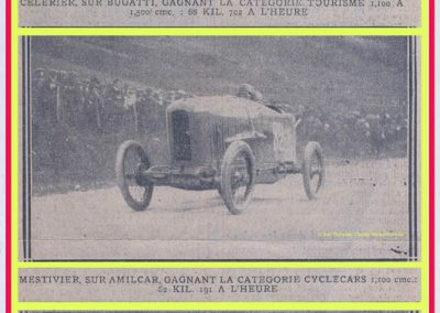 1925 -- 01 Records. Amilcar Marius Mestivier Cat. 1100cc à 82,191 km-h. Bugatti Cat. 1500cc seulement 68,702 km-h !. 1