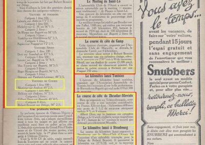 1925 05 04 Côte du Camp 1er Morel 2'35'' Amilcar 1100, Benoist Delage 4000 2'35''. Le 19 04 Château-Thierry, 1er Amilcar 1100cc, Marius Mestivier 43'', 1er Benoist Delage 8000cc, 34''. 1