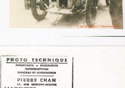 1925 -- 05 Morel aux essais de l'Amilcar CO, 1100, 6 cyl. à 173 km-h. à Montlhéry sans compresseur, 75 ch. à 6.500 tr-mn, constaté par Pierre Chan, Photographe-Reportaire. 1