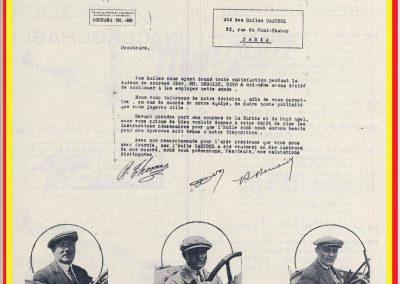 1925 26 02 Delage, René Thomas-Delage écrit à ''Castrol'' de préparer l'huile pour la montée de la Turbie, le Mont Agel.... 1