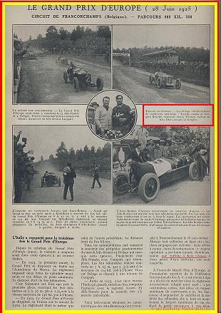 1925 28 06 G.P. d'Europe, Circuit de Spa-Francorchamps. Belgique. Sur ALFA-Roméo P2, 8 2000cc, 1er Ascari, 2ème Campari. ab. des 3 Delage. 1