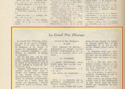1925 28 06 G.P. d'Europe, Circuit de Spa-Francorchamps. Belgique. Sur ALFA-Roméo P2, 8 2000cc, 1er Ascari, 2ème Campari. ab. des 3 Delage. 2