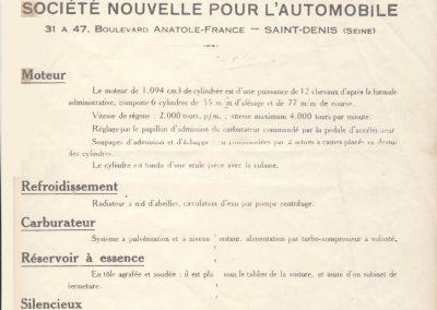 1926 02 03 Notice d'homologuation d'un Amilcar C.O. de course d'Usine, groupe borgne 1094cc, 55 x 77mm, qui n'a jamais été vendu au publique 1