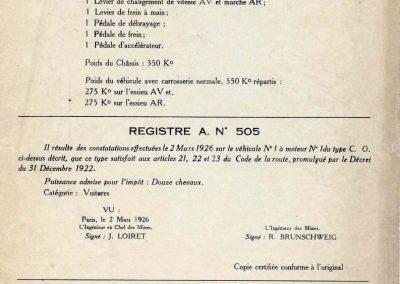 1926 02 03 Notice d'homologuation d'un Amilcar C.O. de course d'Usine, groupe borgne 1094cc, 55 x 77mm, qui n'a jamais été vendu au publique 3