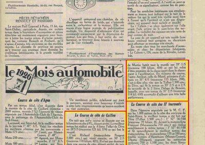 1926 03 10 Gaillon, Amilcar 1er Morel 31'4, plus vite que Divo Talbot 1500 et à deux cinquième de seconde de Benoist Delage 2000 ! 17 tournants, 1er Morel 1100, 1'35 à une seconde Williams Bugatti 3000._