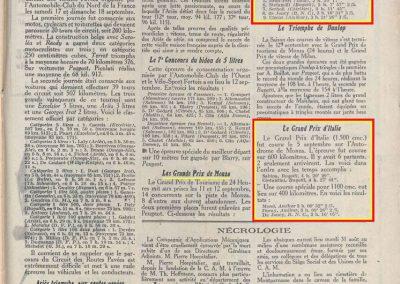 1926 05 09 GP d'Italie 1100cc à Monza, 1er Amilcar C.O. Morel 400 km 3h 00''32 à 133 km-h, Duray 3h 09'26''de Joncy BNC 3h 16'05''. GP Vitesse 1er Sabipa et 2e Costantini-Bugatti_