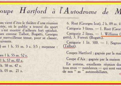 1926 08 03 La Coupe Hartford à Miramas, 1er Segrave-Talbot, Moriceau-Talbot 1500 2ème devant Williams et Chiron-Bugatti 2000cc. 1