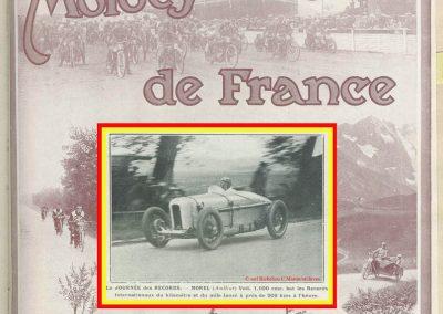 1926 09 05 Records Internationaux Arpajon, Morel, Amilcar C.O. 1100cc, bat le km lancé à 197,422 km-h (200 km-h), le Mile L. à 195 et le km arrêté à 126 avec Martin. 1