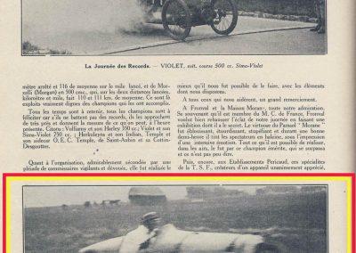 1926 09 05 Records Internationaux Arpajon, Morel, Amilcar C.O. 1100cc, bat le km lancé à 197,422 km-h (200 km-h), le Mile L. à 195 et le km arrêté à 126 avec Martin. 7