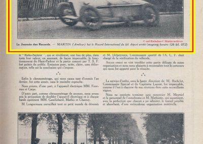 1926 09 05 Records Internationaux Arpajon, Morel, Amilcar C.O. 1100cc, bat le km lancé à 197,422 km-h (200 km-h), le Mile L. à 195 et le km arrêté à 126 avec Martin. 8