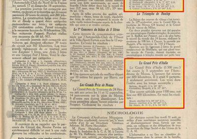 1926 11 et 12 09 GP Vitesse Italie Monza Goux-Bugatti 2ème, 1er Costantini 2h 36'18'', 9ème Clérici Amilcar C.6. 1