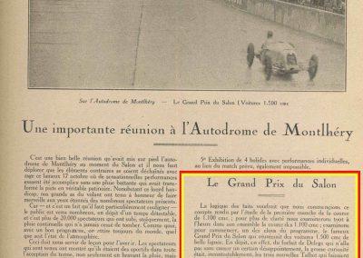 1926 17 10 Critérium des 1100, 1er Duray, ab Martin et Morel (radiateur percé). Jeuffrain 4ème (C6). GP du XXème Salon, 1er, Divo, Segrave 2ème et Moriceau 3ème tous sur nouvelles 1500 Talbot. 1_