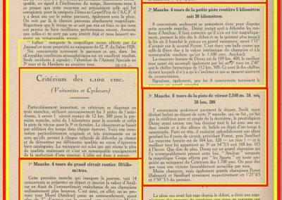 1926 17 10 Critérium des 1100, 1er Duray, ab Martin et Morel (radiateur percé). Jeuffrain 4ème (C6). GP du XXème Salon, 1er, Divo, Segrave 2ème et Moriceau 3ème tous sur nouvelles 1500 Talbot. 4