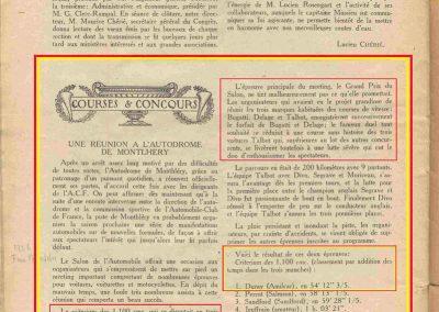 1926 17 10 Duray 1er Critérium des 1100 et GP du Salon 1er Divo-Segrave-Moriceau Talbot. Retrait Delage et Bugatti. 1