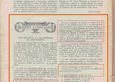 1926 17 10 XXe Salon, le Critérium des 3 C.O. 1100, 1er Duray, ab Martin et Morel (radiateur percé). Jeuffrain 4e. Le GP, 1er Divo, 2e Segrave, Moriceau 3e sur les 3 Talbot 1500cc. 4
