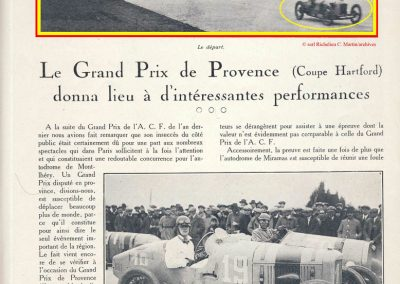 1926 28 03 GP 2ème Provence Coupe Hartford Miramas, Amilcar 1100 1er Morel 2ème Martin. En 1500, 2ème Moriceau-Talbot, 3ème Williams-Bugatti. 1