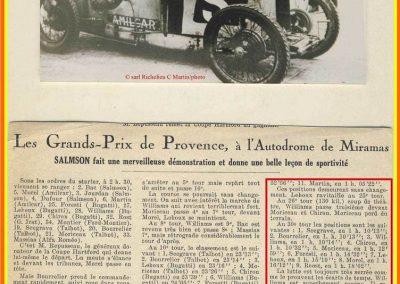 1926 28 03 GP 2ème Provence Coupe Hartford Miramas, Amilcar 1100 1er Morel 2ème Martin. En 1500, 2ème Moriceau-Talbot, 3ème Williams-Bugatti. 3