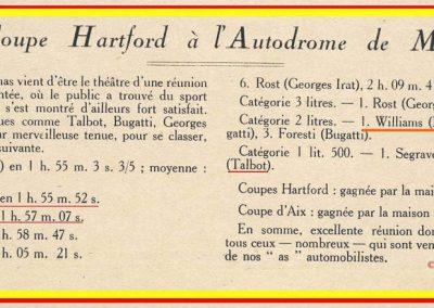 1926 28 03 GP Provence à Miramas. la Coupe Hartford des Voiturettes, Amilcar, 1er Morel n°5 et n°6, 2ème Martin. GP 1er Segrave, 2ème Moriceau Talbot, 3ème Williams, 4ème Chiron. 12