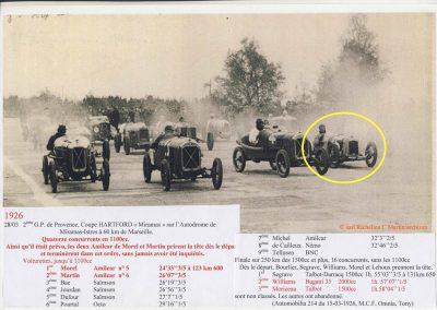 1926 28 03 GP Provence à Miramas. la Coupe Hartford des Voiturettes, Amilcar, 1er Morel n°5 et n°6, 2ème Martin. GP 1er Segrave, 2ème Moriceau Talbot, 3ème Williams, 4ème Chiron. 15