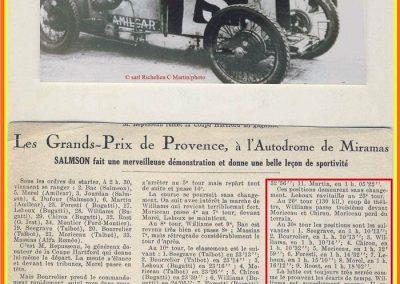 1926 28 03 GP Provence à Miramas. la Coupe Hartford des Voiturettes, Amilcar, 1er Morel n°5 et n°6, 2ème Martin. GP 1er Segrave, 2ème Moriceau Talbot, 3ème Williams, 4ème Chiron. 3