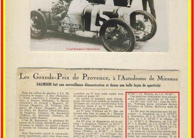 1926 28 03 GP Provence à Miramas. la Coupe Hartford des Voiturettes, Amilcar, 1er Morel n°5 et n°6, 2ème Martin. GP 1er Segrave, 2ème Moriceau Talbot, 3ème Williams, 4ème Chiron. 7