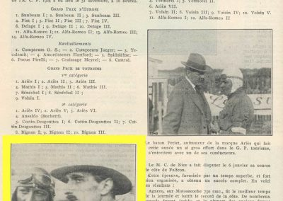 1927 01 10 GP de Grande Bretagne-Angleterre, 1er Benoist, Bourlier et Divo, 6ème Williams-Conelli-Bugatti. Le 26 09 Records Voisin, Marchand, Morel et Kiriloff. 2