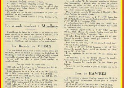 1927 01 10 GP de Grande Bretagne-Angleterre, 1er Benoist, Bourlier et Divo, 6ème Williams-Conelli-Bugatti. Le 26 09 Records Voisin, Marchand, Morel et Kiriloff.1