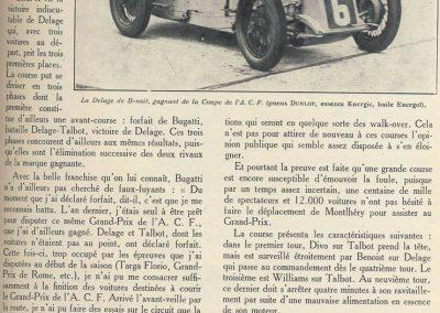 1927 03 07 GP de l'ACF à Montlhéry. 1er Benoist, 2 Bourlier, 3 Morel Delage, 4 Williams-Moriceau Talbot. 19