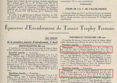 1927 03-10 04 Course Formule libre, (Epreuves d'Encadrement T.T.F). Amilcar 1er Morel et Martin ex-aquo. 3