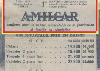 1927 05 03 Le Km lancé à Genève. 1er au général, Morel Amilcar 1100. Triomphe des 6 cylindres Amilcar.1