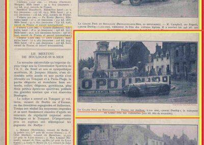 1927 10 09 GP Boulogne-Mer. Amilcar MCO GH, Duray 1er des 1100 n°37. le 15 08 GP U.M.F. 1er Martin Amilcar MCO, 1er des 1100 n°36. 4
