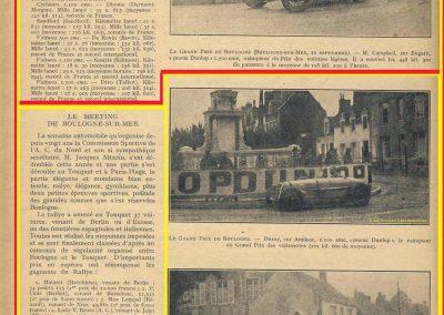 1927 10 09 GP de Boulogne-Mer des Voiturettes légères 1100, 1er Duray, Amilcar MCO. GP de l'U.M.F. 1er Martin Amilcar MCO. 3