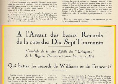 1927 12 05 Records des 17 Tournants. 1er Williams Bugatti 2 et 3000cc. Amilcar 1500 Morel 1'29. 1