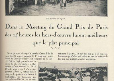 1927 14-15 08 Meeting du 1er GP de Paris de 24 h. à Linas-Montlhéry. Course des 1100 ; Amilcar MCO GH 1er Martin n°14 et 2ème Morel MCO étroit n°12. Course des Dames, Junek-Bugatti 2300cc. 1